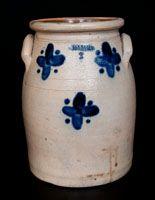 Rare JORDAN, New York Stoneware Jar with Cobalt Cross Decoration