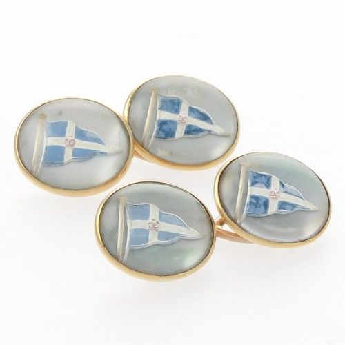 A pair of Antique Essex crystal double cufflinks set on Mother of pearl and 18ct gold. Circa 1900's #Rutherford #Melbourne