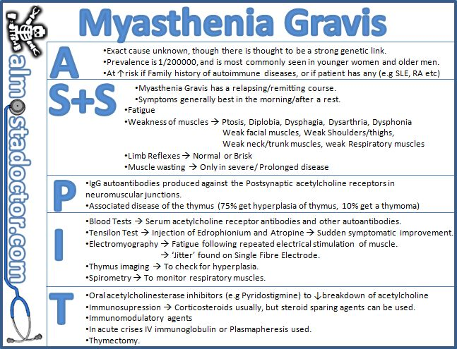 difference between myasthenic crisis and cholinergic crisis Myasthenia gravis (mg) is an autoimmune neuromuscular disease characterized   acute exacerbations, as seen in myasthenic crisis, should be treated with  either iv  thymoma (the most common primary tumor in the anterior  mediastinum) in  provides symptomatic relief side effects: see symptoms of  cholinergic crisis.