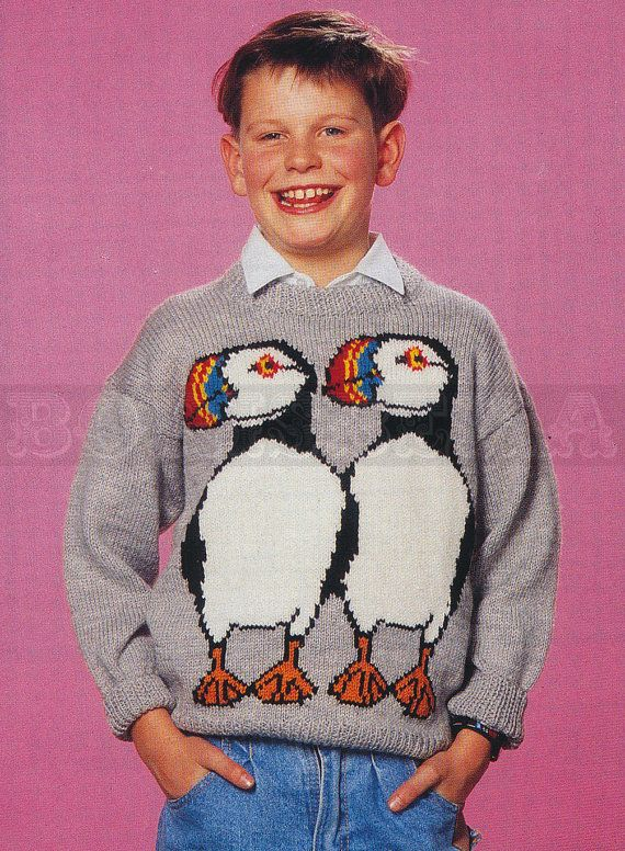 vintage Adult & Childs PUFFINS jumper knitting by borisbeka, $3.50
