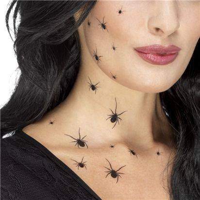 Crawling Spider Tattoo Transfers - Halloween Special Effects Makeup  front