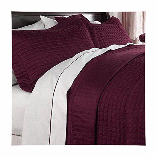 Modern Reversible Solid Red Burgundy Quilt Bedding