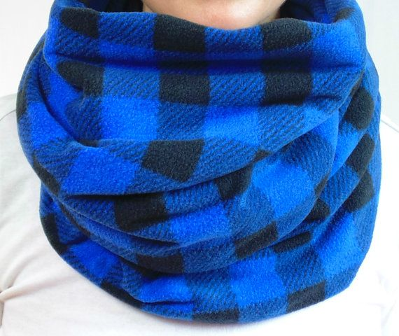 Buffalo Plaid Infinity Scarf Blue Fleece Scarf Tartan by brefney