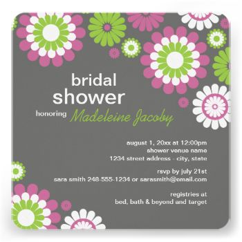 Colorful fuchsia purple, lime green, and white gerbera daisies adorn this delightful floral bridal shower invitation. The square invitations feature retro style daisies that frame modern lowercase sans serif text, contrasted by a charcoal gray background. Additional color scheme and coordinating stationery products are available at The Plush Paper Design Shop. #wedding #bridal #shower #gerbera #daisy #daisies #floral #flowers #retro #modern #summer #happy #delightful #custom #design #fall