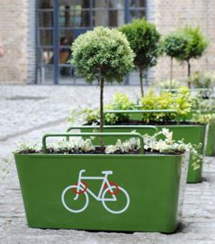 double duty: planters with trees to lock our bike. More than a landscape idea, it's a urban intervention idea. Beautifully done.