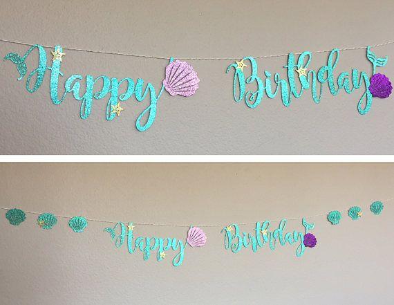 Happy Birthday banner Little Mermaid Ariel Cursive Script glitter aqua sea shell fin tail starfish Under The Sea Party