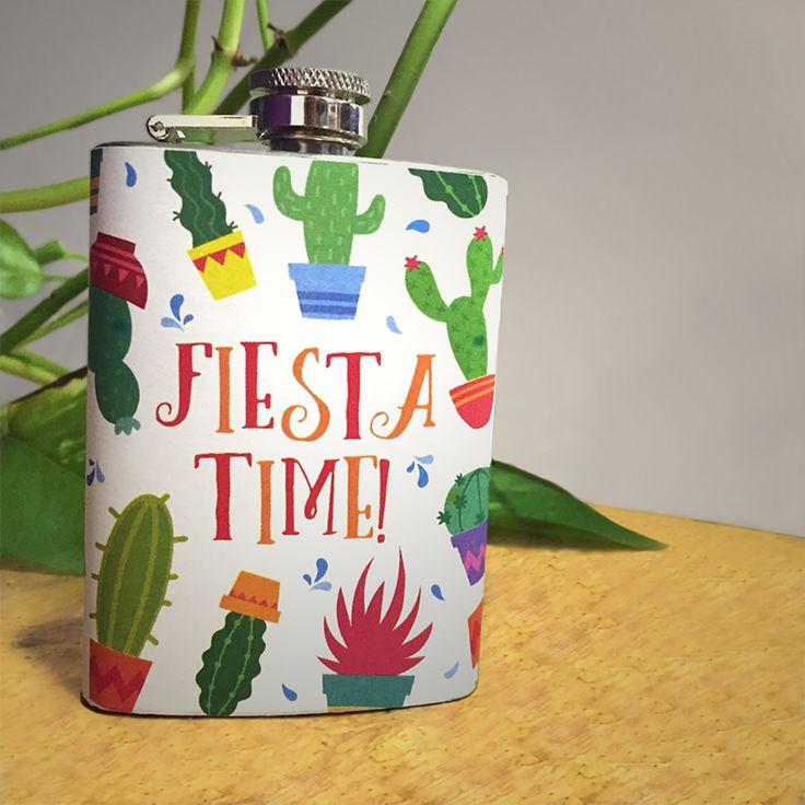 Nerezová placatka Fiesta Time! z kolekce Kaktus #Cactus #fiesta #kaktus #flask #giftideas