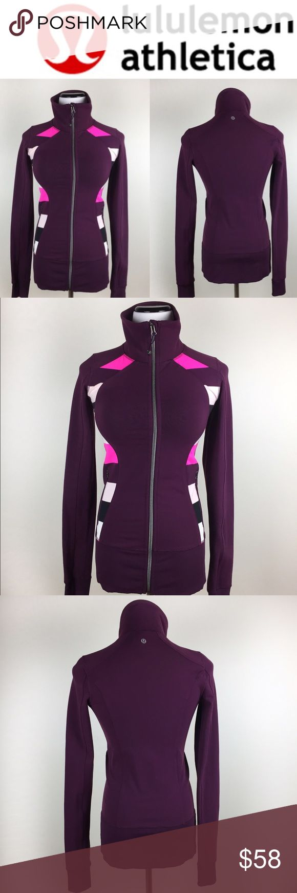 🤸‍♀️🎀Lululemon Athletica scuba zipper jacket Gorgeous Lululemon maroon scuba with zipper, colorful logo in the middle or the jacket with touches of pink white and black! Extremely gently worn, following Lululemon advices care. No holes or discoloration! Just gorgeous! Size 4 but could fit a small 6 Make an offer! Questions? Ask me 🎉🎀 lululemon athletica Jackets & Coats