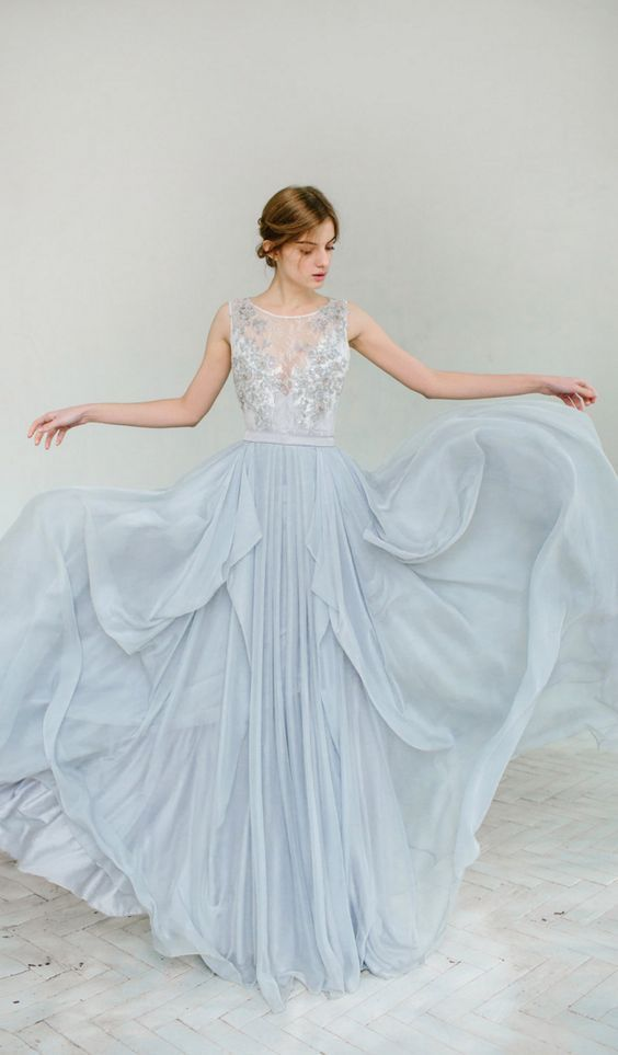 dusty blue wedding gown and dress / http://www.himisspuff.com/blue-wedding-dresses/