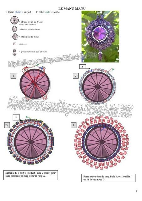 Here is a pattern for  amazing pendant Kiki by Manu. (Part 2 of 4)  U need:    1 cabochone, button or rivoli 14 mm    14 bicone beads 4 mm    14 round beads 4 mm    seed beads (delica)    1  drop bead  - See more at: http://beadsmagic.com/?p=651#more-651