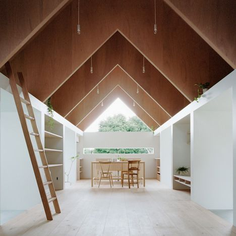Koya No Sumika by mA-style Architects Small attic spaces are tucked between the ribs of a triangular roof at this house extension in Japan by mA-style Architects