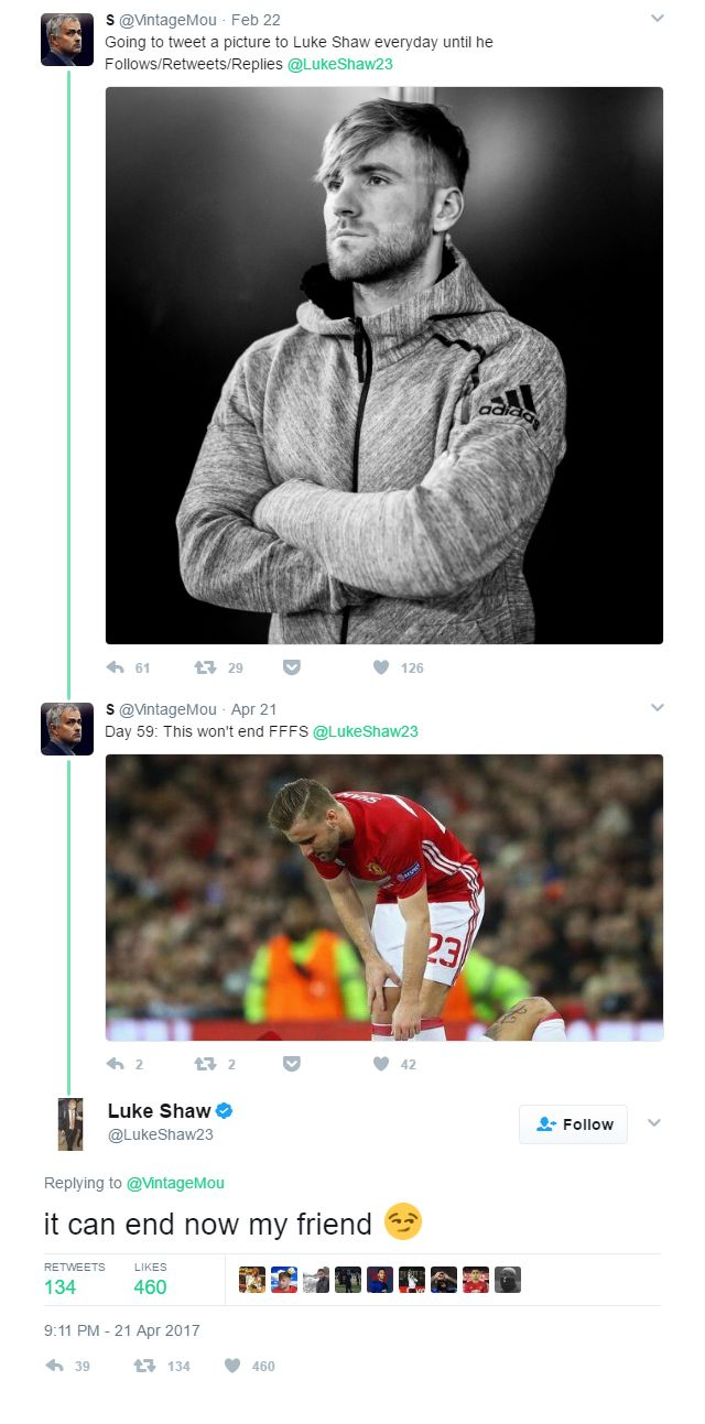 One Manchester United supporter was so desperate to get some attention from defender Luke Shaw that he tweeted him with a barrage of daily images for two months until he was noticed by the left-back