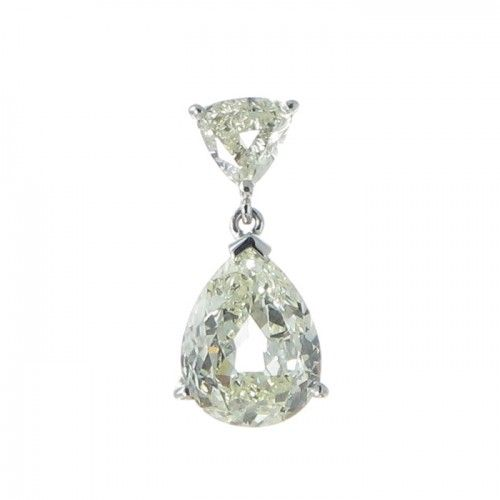 A handmade 18ct white gold pendant featuring a light yellow old pear cut diamond.  Total Estimated Diamond Weight: 2.30ct #Rutherford #Melbourne