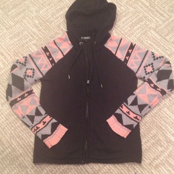 LA HEARTS AZTEC ZIP UP Black zip up hoodie with Aztec detail sleeves-great condition and really cozy-SMOKE FREE HOME FAST SHIPPING LA Hearts Tops Sweatshirts & Hoodies