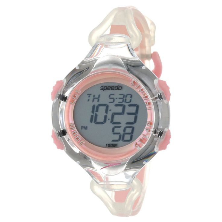 Speedo SD50582 Women's 150 Lap Grey Digital Dial Silicone Strap Clear Pink Watch