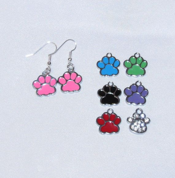 Color Paw Print Earrings by PawInspiredCreations on Etsy