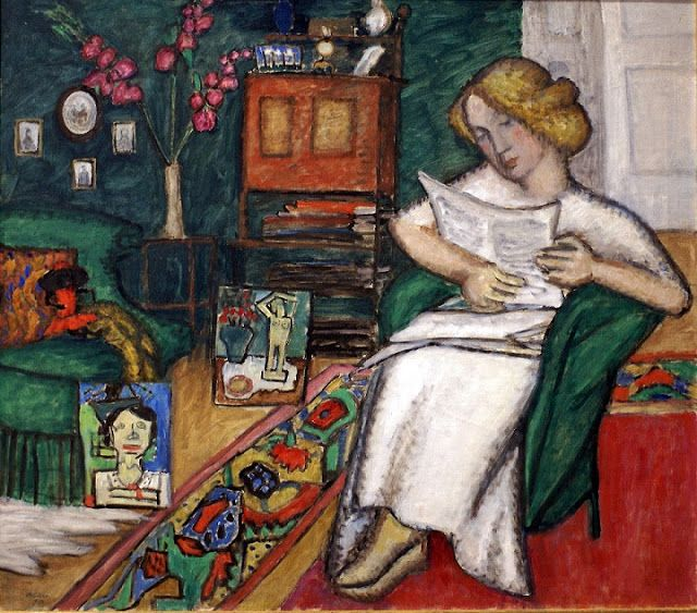 Gabriele Münter (German, 1877-1962) – In the Room (also known as Woman in White Dress), 1913 (Oil on canvas. Städtische Galerie im Lenbachhaus) - - In 1902, Münter began a 12-year professional and personal relationship with the Phalanx School's director, Wassily Kandinsky. They traveled together and in 1908 discovered the Bavarian village of Murnau, where Münter later bought a house. Münter helped establish the Munich-based avant-garde group Neue Künstlervereinigung (New Artists'…