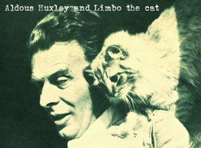 Aldous Huxley and Limbo the cat.