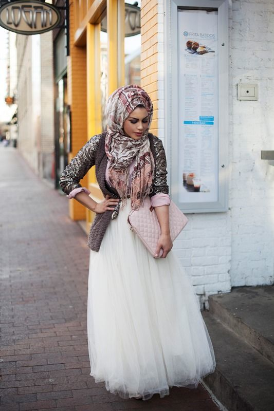 Street hijab style: a maxi tutu skirt, a loose blouse or shirt, a blazer or jacket, floral or patterned hijab/scarf/pashmina