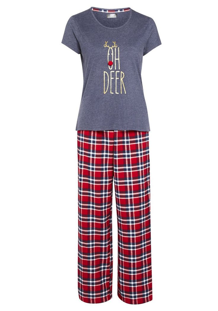 Clothing at Tesco | F&F Oh Deer Slogan Christmas Pyjamas > nightwear > Women's novelty > Christmas