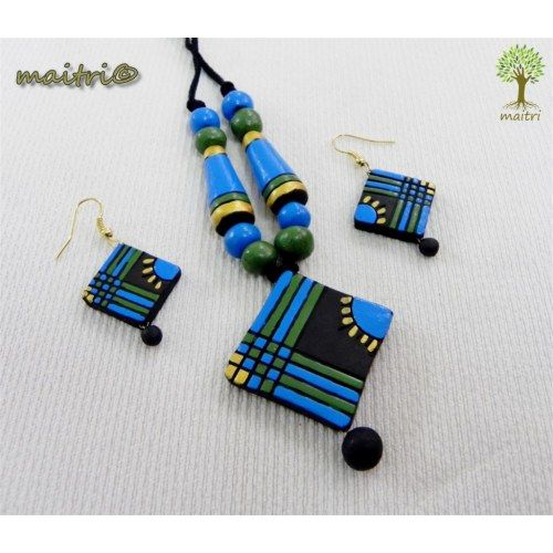 Terracotta Jewellery  - Blue Black Square  www.facebook.com/maitri.crafts.maitri maitri_crafts@yahoo.com