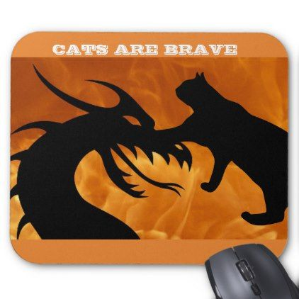 """""""CAT MOUSEPADS """"CATS ARE BRAVE MOUSEPAD - individual customized unique ideas designs custom gift ideas"""