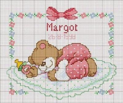 Raccolta di schemi con orsetti per biancheria neonato