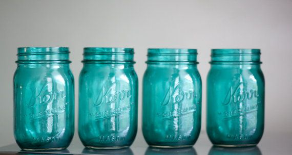 Bali Water tinted mason jars