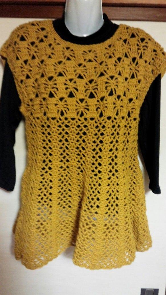 パイナップル編みのチュニックベストです。長い季節着用できます。写真ではわかりづらいかもしれませんが、黄色の毛糸を使用しています。肌寒いときにいかがですか?肩か...|ハンドメイド、手作り、手仕事品の通販・販売・購入ならCreema。