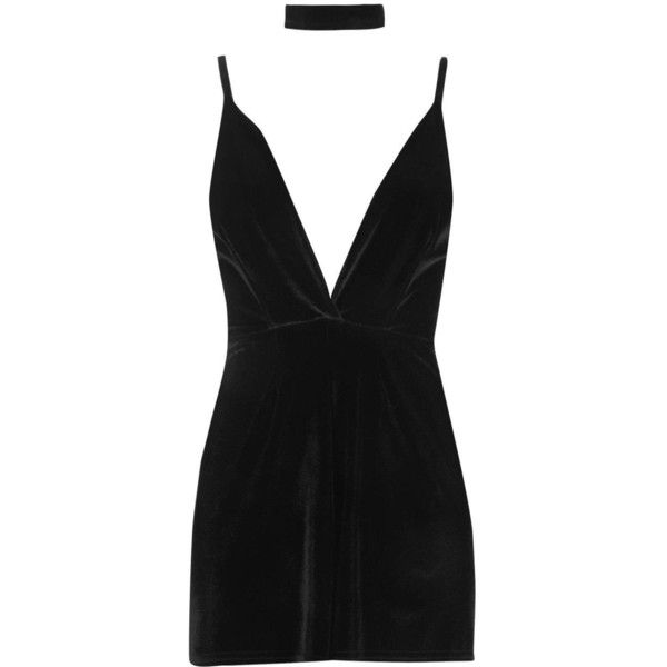 Boohoo Krin Choker Detail Velvet Playsuit ($26) ❤ liked on Polyvore featuring jumpsuits, rompers, dresses, velvet romper, velvet rompers, party rompers and playsuit romper