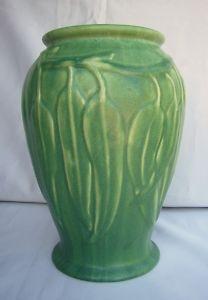 Huge green gumleaf Melrose Ware pottery vase