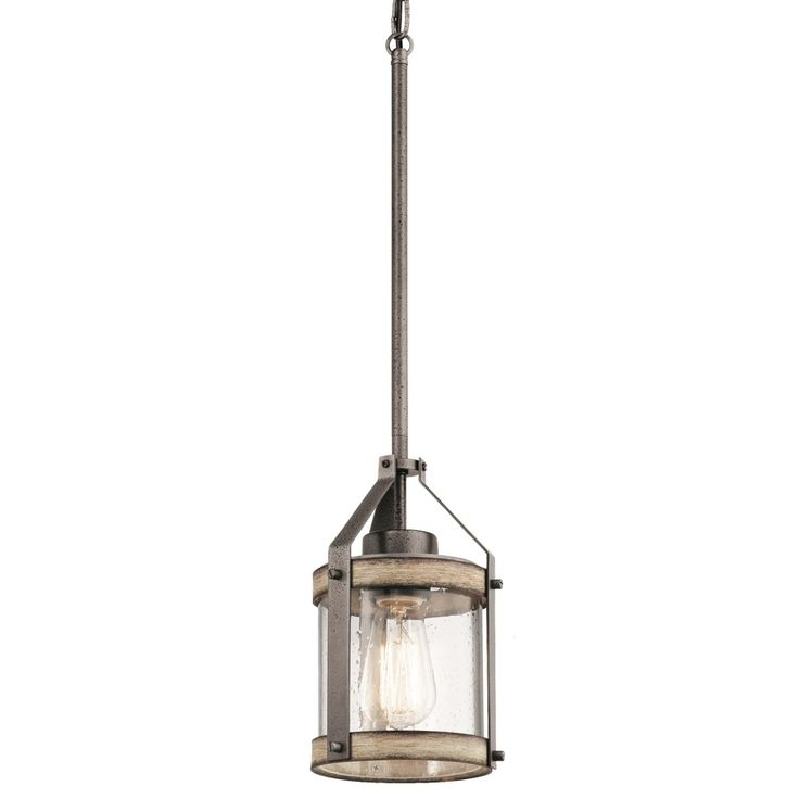 Kichler Lighting Barrington 5.5-in Anvil Iron and Driftwood Rustic Mini Seeded Glass Cylinder Pendant