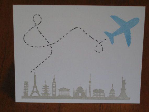 avion sur la carte de voeux voyage villes  par LSquaredDesign, $4.00
