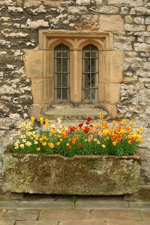 Window with Stone Flower Box Hadon Hall, Derbyshire,UK; photo by Stanley Klein