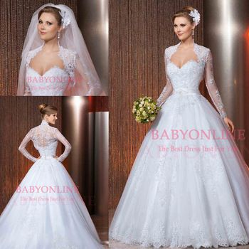 ball gown wedding dresses with sweetheart neckline with a long train and laced sleves - Google Search