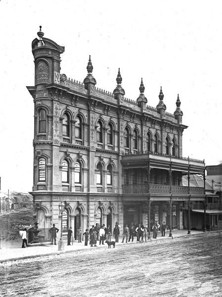 Northumberland Permanent Building and Investment Land and Loan Society Building was built in 1887, the year of this Snowball photograph, it was the first major commission by the architecural firm Bennet and Yeomans. This elaborate three story high Victorian building became a landmark of the city. However, it was demolished in 1938.