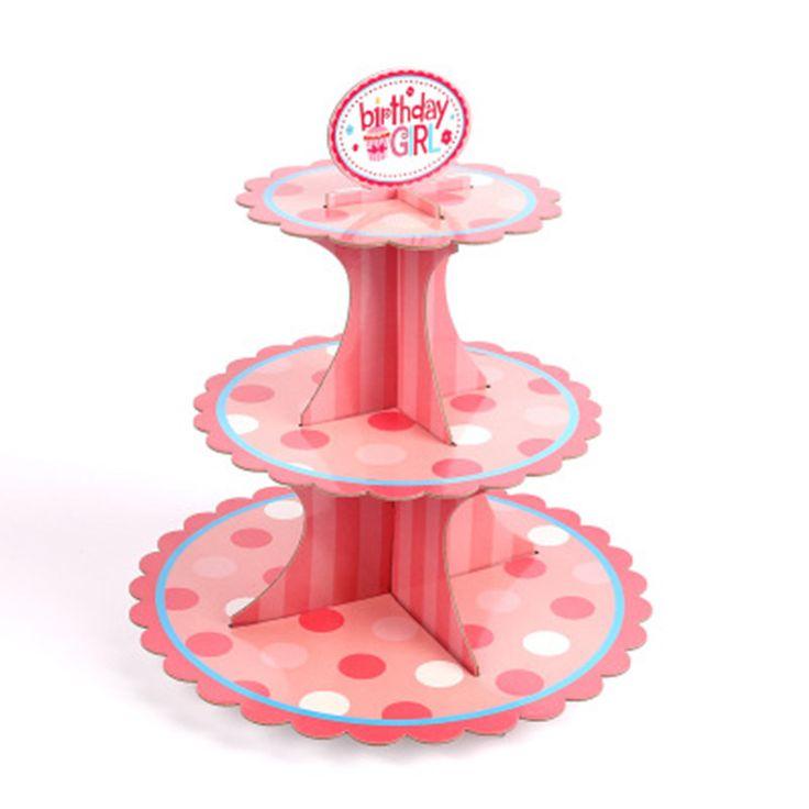 Pink Dot Cupcake Stander Girl Birthday Baby Shower Party Cardboard Cupcake Stand Cupcakes TE-0161