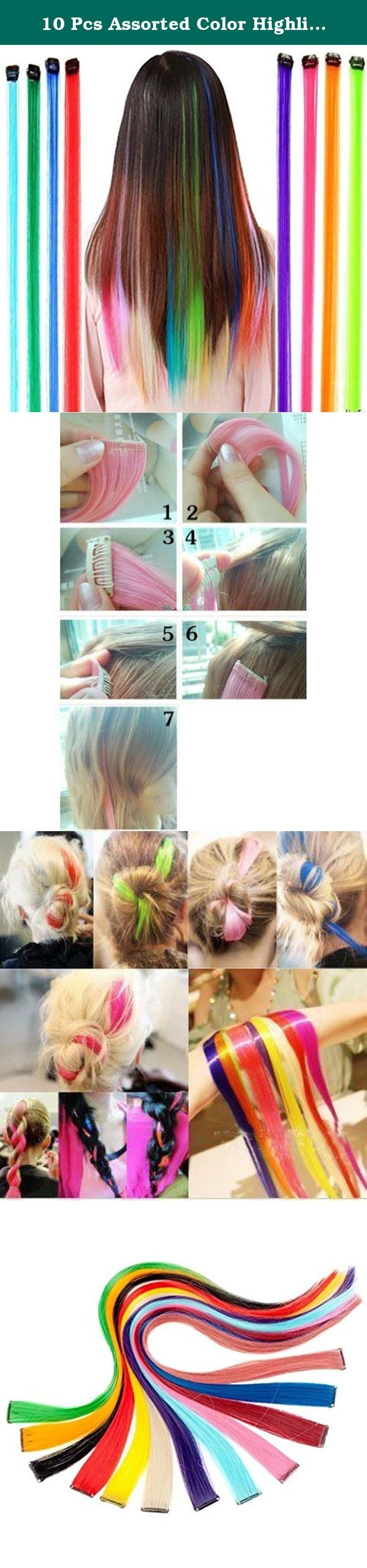 10 Pcs Assorted Color Highlights Colorful Hair Extensions Hairpieces Beauty Hair Clip On Salon Supply Hair Pieces Costume Accessory for Party or Daily. Great for Graduation party, Wedding , Prom and much more length£º55cm(21.5inch),Width: 2.6cm(1inch) Material: High Temperature Kanekalon Synthetic Fiber Make your own fasion hair style You can blow-dry, straighten, curl, wash, and trim them to desired length as if they are actual strands of hair. The hair extension can be heated up to 195...