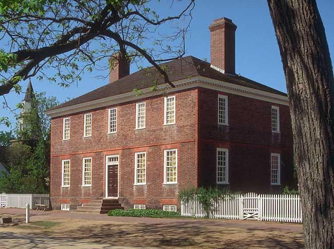 George Wythe house, Palace Green, Williamsburg, VA. Built mid-1750s by Richard Taliaferro, Wythe's father-in-law. Wythe was a leader of the patriot movement in Virginia, a delegate to the Continental Congress, and Virginia's first signer of the Declaration of Independence. He also ranked amoung the finest of lawyers, legal scholars and teachers.  His wife died in 1787, he remained until 1791 at which time he moved to Richmond to serve as a judge on Virginia's court of Chancery.