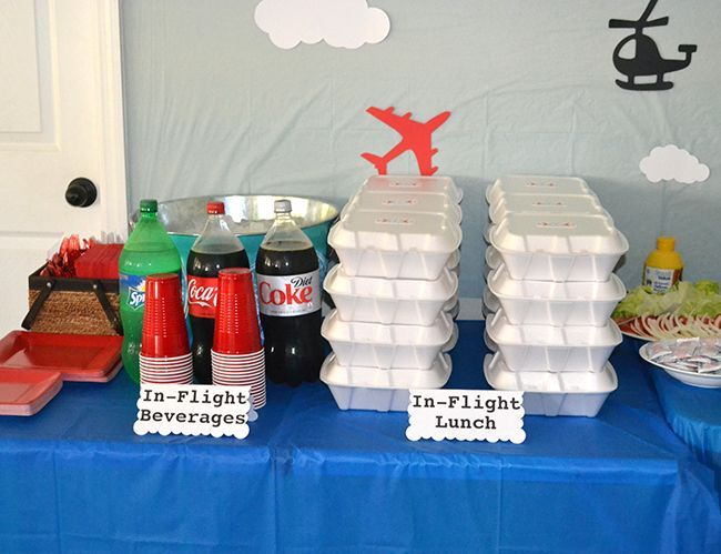 Airplane birthday party – in-flight beverages and in-flight lunch