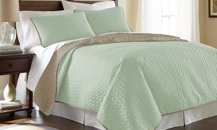 Groupon - Solid Reversible Coverlet Set (3-Piece). Groupon deal price: $22.99