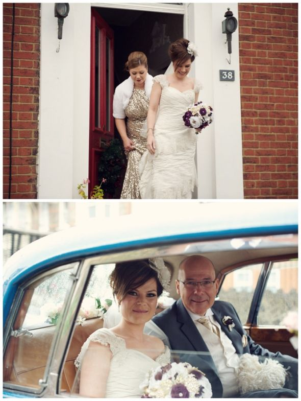 Rhiannon & Joe, hired our Classic 1958 Armstrong Siddeley Sapphire 346. Rhiannon here with her dad on the way to the church.