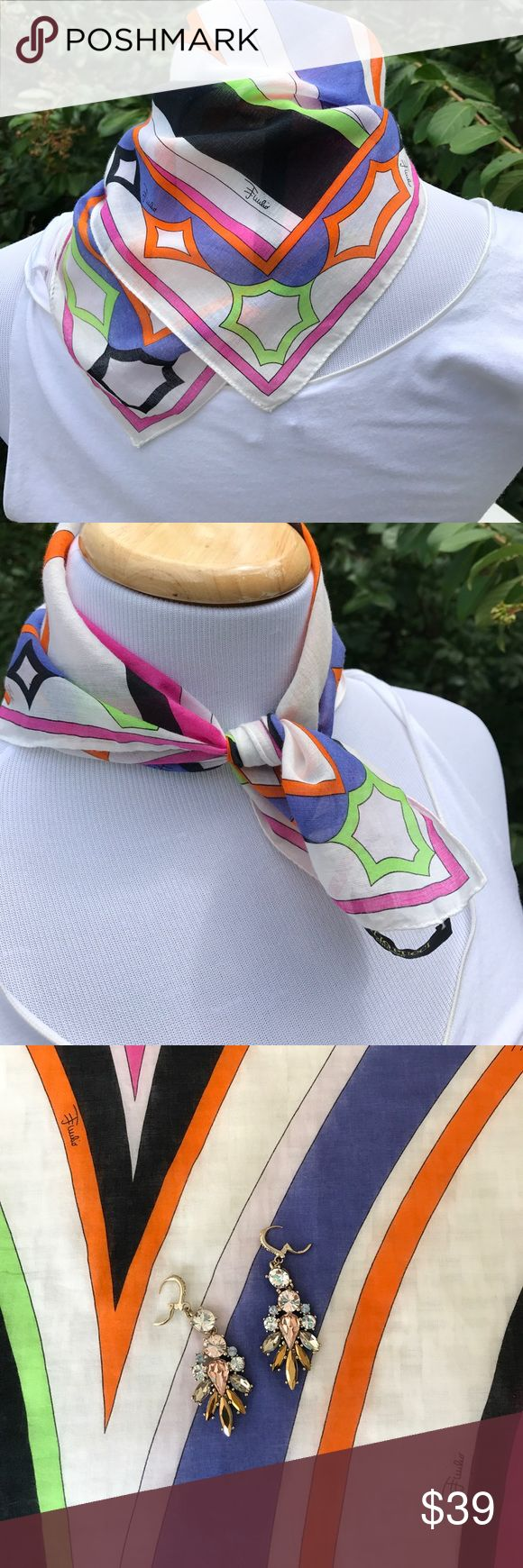"Lovely Pucci cotton scarf The hot pastel colors are everywhere this summer in American and European clothing. This sweet Pucci 100% cotton scarf is great as a neck kerchief or tied around your wrist or handbag or you can lend it to a friend who needs a good cry. Size is 16.6 x 16.5"". EUC, no stains, spots or snags. I do not have the box but it will be appropriately packaged. Made in Italy. Emilio Pucci Accessories Scarves & Wraps"