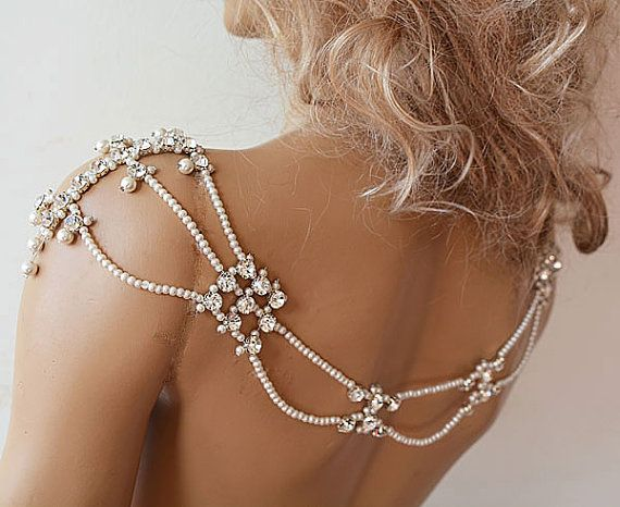 Pearl and Rhinestone Jewelry Wedding Dress Shoulder by ADbrdal