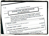 """Communication Lessons from Aviation II: be inspired by aircraft QRH manuals to write terse, effective instructions that can be followed very quickly. Seen here, the """"engine on fire or fallen off"""" page from a 737 QRH."""