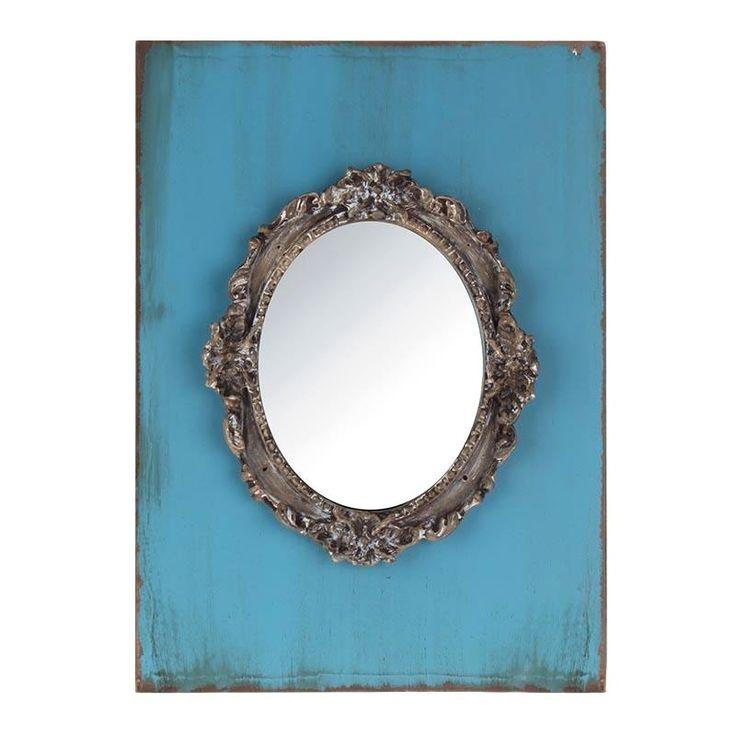 Καθρέπτης ξύλινος-γυάλινος τοίχου αντικέ, χρώμα μπλε , ένα στολίδι για το σπίτι.