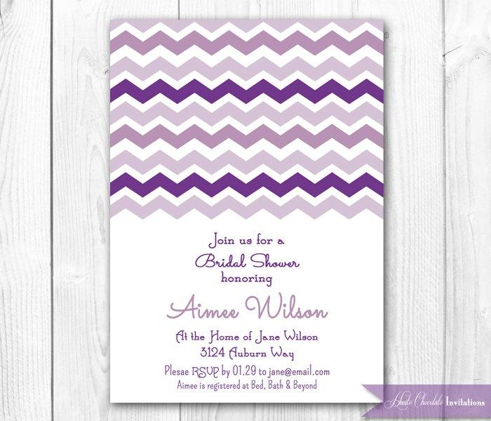 Modern Chevron Bridal Shower Invitation. Purple & Lavender - DIY Printable Chevron Bridal Shower, Baby Shower or Brithday Invitation.. $14.00, via Etsy.