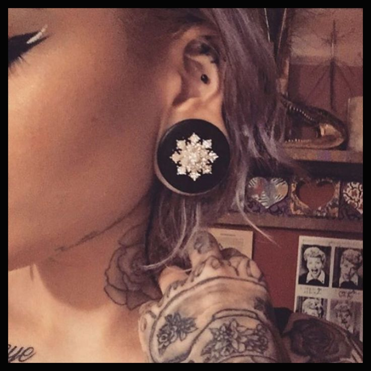 Gifts for her  Festive Snowflake Bling Ebony wood ear plug gauges