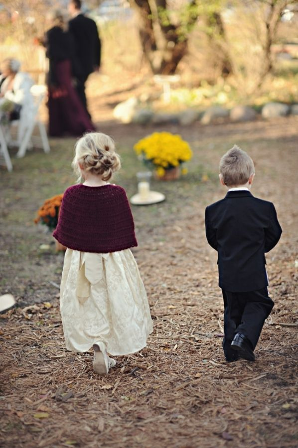 Autumnal wedding...plum accents-knit shawl on flowergirl. so presh