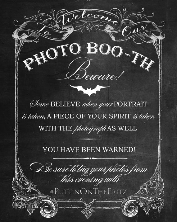 chalkboard photo booth printable sign for by craftybeandesign halloween backdrophalloween signsgothic halloweenhalloween party - Black And White Halloween Party